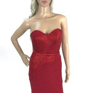 MON CHERI Red Crystal Embellished Evening Gown